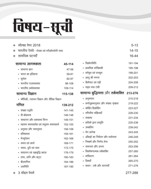 Index of RRB NTPC Exam Book 2019 in hindi